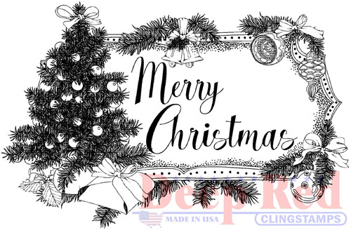 Christmas Tree Tag Cling Stamp by Deep Red Stamps