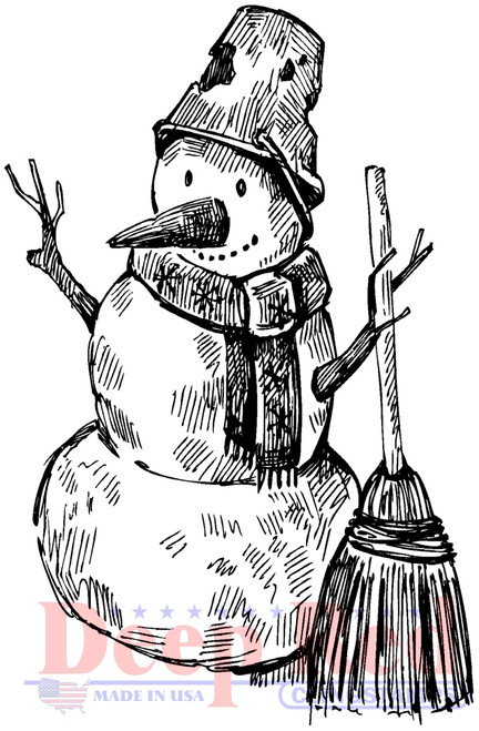 Snowman with Broom Cling Stamp by Deep Red Stamps