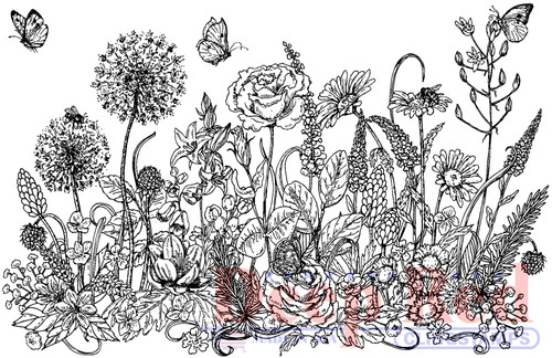 Summer Flowers Border Cling Stamp by Deep Red Stamps