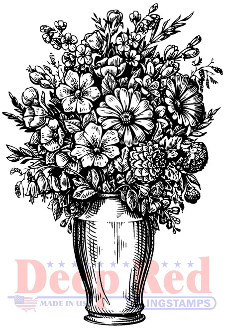 Summer Vase Cling Stamp by Deep Red Stamps