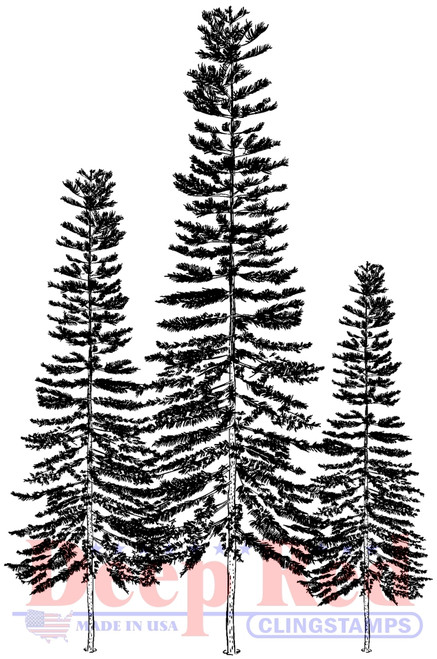 Three Pines Cling Stamp by Deep Red Stamps