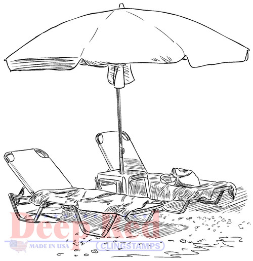 Oceanside Loungers Cling Stamp by Deep Red Stamps
