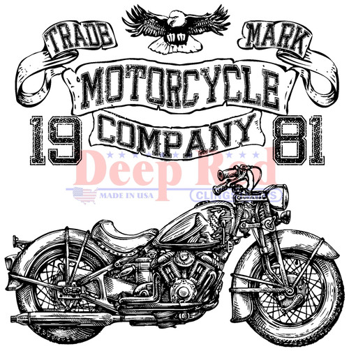 Motorcycle Logo Cling Stamp by Deep Red Stamps