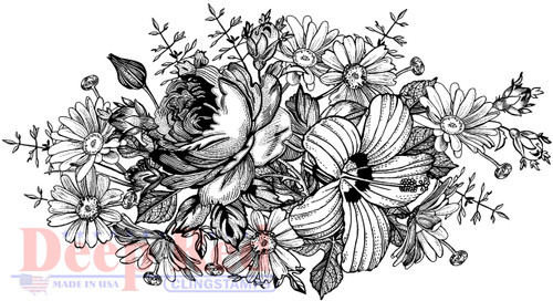 Floral Centerpiece Cling Stamp by Deep Red Stamps