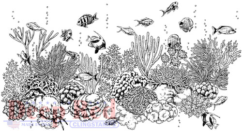 Coral Reef Cling Stamp by Deep Red Stamps