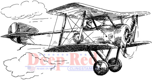 Vintage Biplane Cling Stamp by Deep Red Stamps