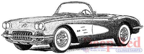 Classic Corvette Cling Stamp by Deep Red Stamps