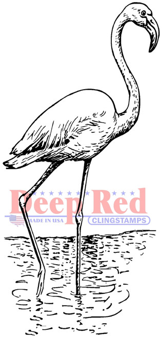Flamingo Cling Stamp by Deep Red Stamps