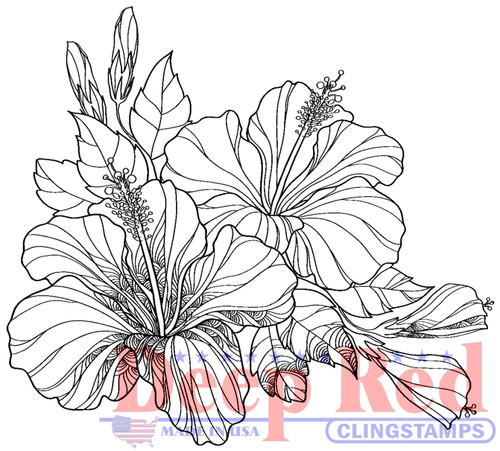 Hibiscus Cling Stamp by Deep Red Stamps