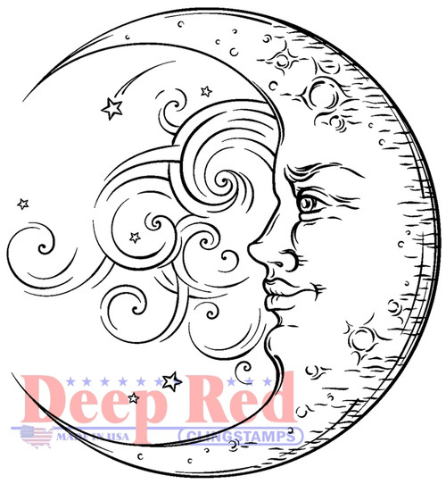 Crescent Moon Cling Stamp by Deep Red Stamps