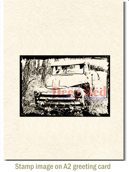 Abandoned Truck Cling Stamp by Deep Red Stamps shown on A2 card