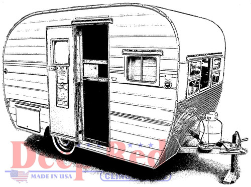 Vintage Camper Cling Stamp by Deep Red Stamps