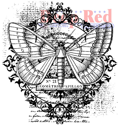 Butterfly Flourish Cling Stamp by Deep Red Stamps