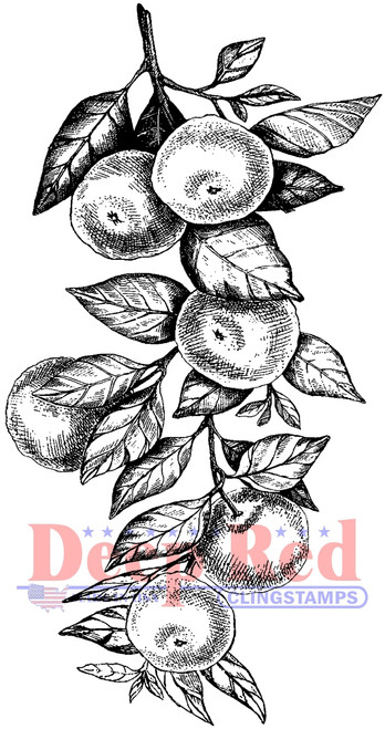 Orange Branch Cling Stamp by Deep Red Stamps