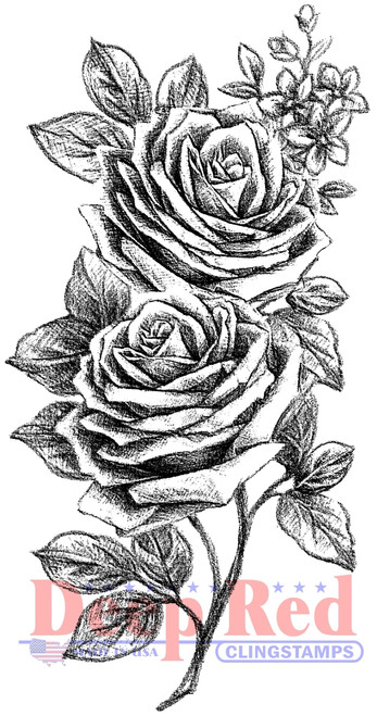 Rose Sketch Cling Stamp by Deep Red Stamps