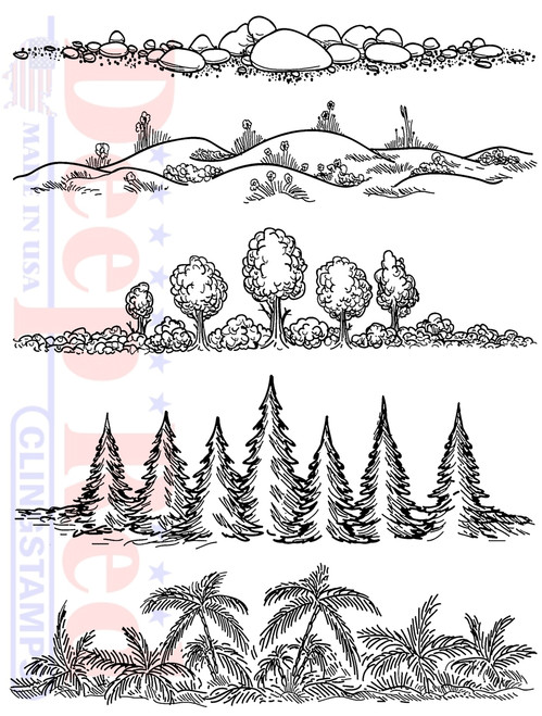 Natures Borders Cling Stamps by Deep Red Stamps