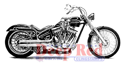 Motorcycle Rubber Cling Stamp by Deep Red Stamps