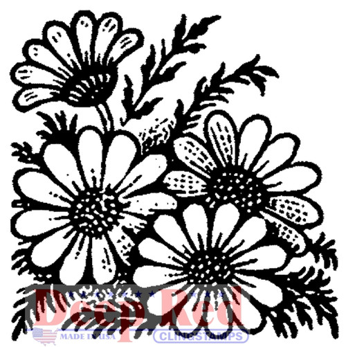 Wild Sunflowers Rubber Cling Stamp by Deep Red Stamps