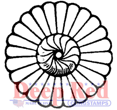 Rosette Flower Rubber Cling Stamp by Deep Red Stamps