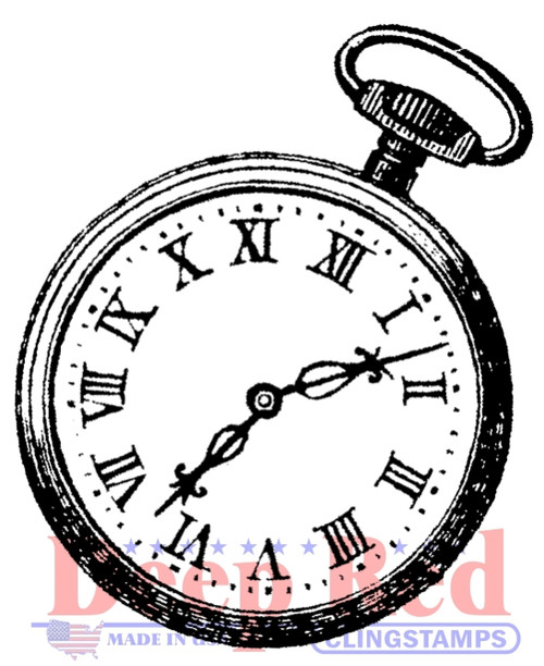 Pocket Watch Rubber Cling Stamp by Deep Red Stamps