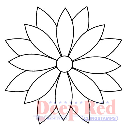 Quilt Flower Motif Rubber Cling Stamp by Deep Red Stamps