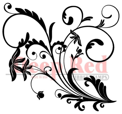 Flourish with Leaves Rubber Cling Stamp by Deep Red Stamps