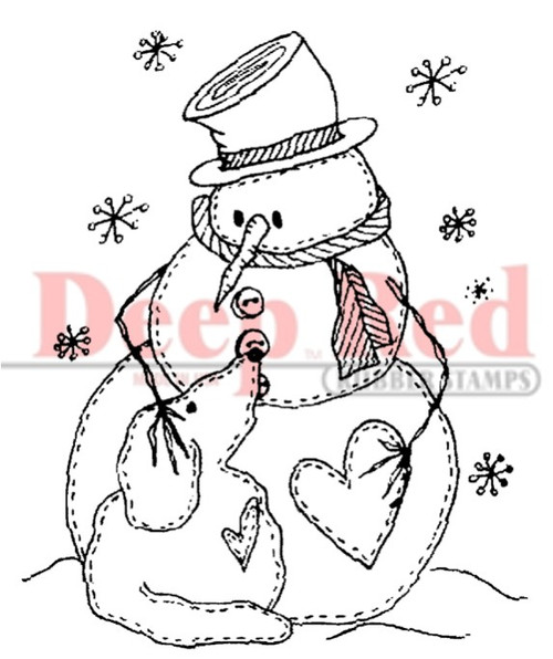 Snowman with Dog Rubber Cling Stamp by Deep Red Stamps