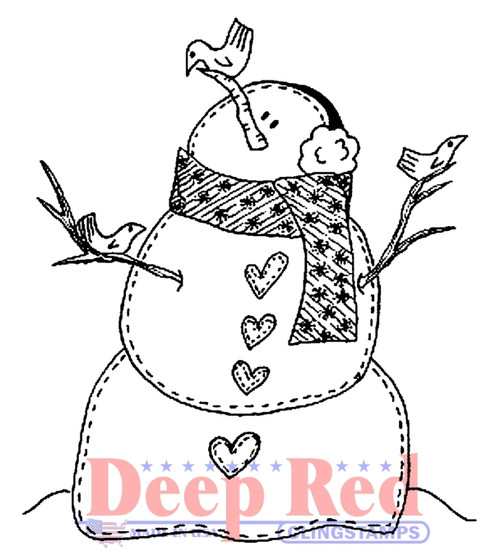 Snowman with Birds Rubber Cling Stamp by Deep Red Stamps