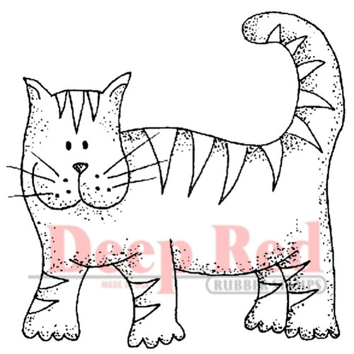 Tiger Cat Rubber Cling Stamp by Deep Red Stamps