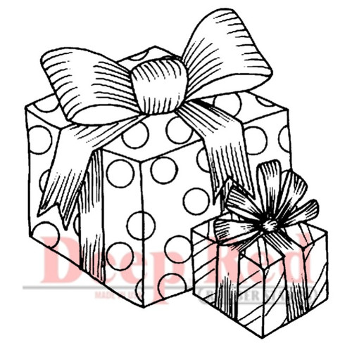 Gift Boxes Rubber Cling Stamp by Deep Red Stamps