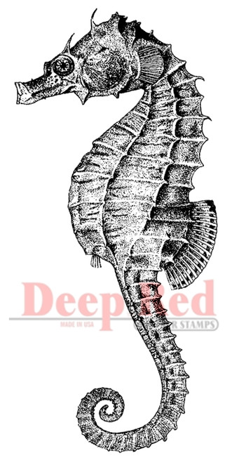 Seahorse Rubber Cling Stamp by Deep Red Stamps