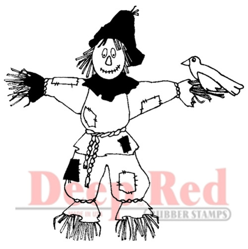 Scarecrow Rubber Cling Stamp by Deep Red Stamps