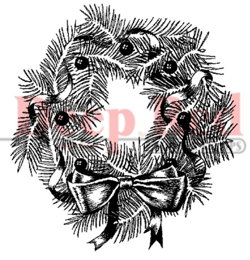 Pine Wreath Rubber Cling Stamp by Deep Red Stamps