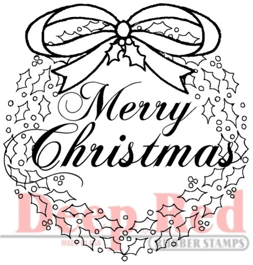 Christmas Wreath with Sentiment Rubber Cling Stamp by Deep Red Stamps