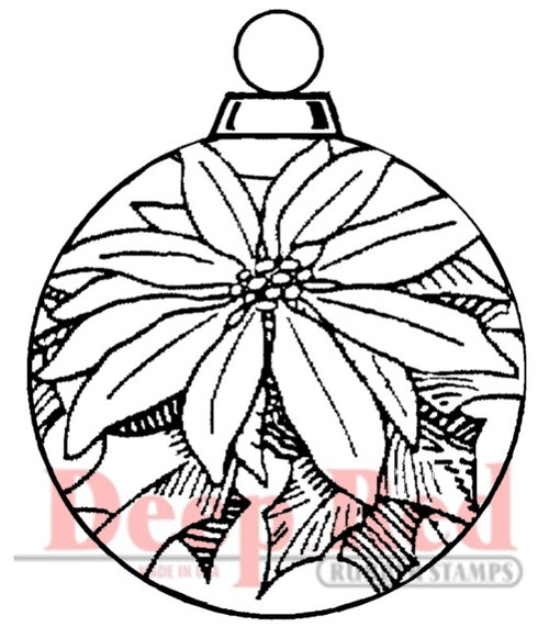 Poinsettia Ornament Rubber Cling Stamp by Deep Red Stamps