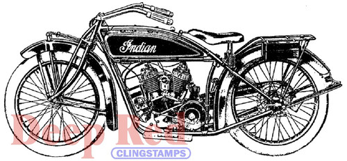 Indian Motorcycle Rubber Cling Stamp by Deep Red Stamps