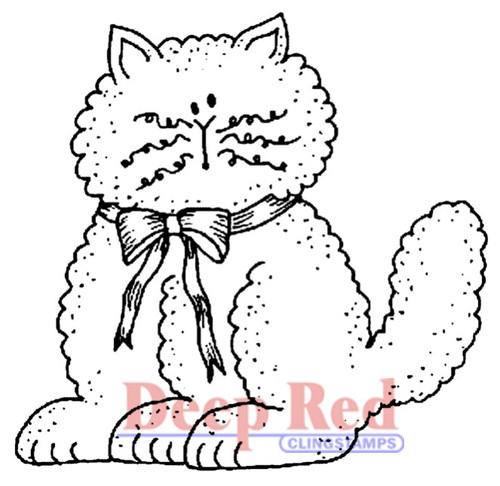 Fluffy Cat with Bow Rubber Cling Stamp by Deep Red Stamps