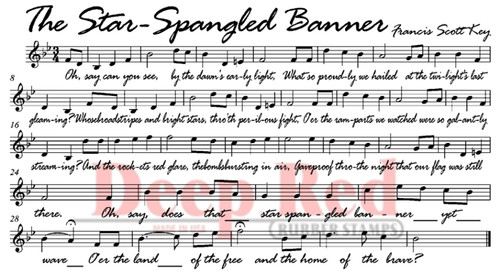 Star Spangled Banner Rubber Cling Stamp by Deep Red Stamps