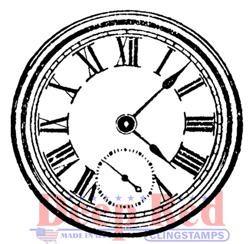 Roman Clock Rubber Cling Stamp by Deep Red Stamps