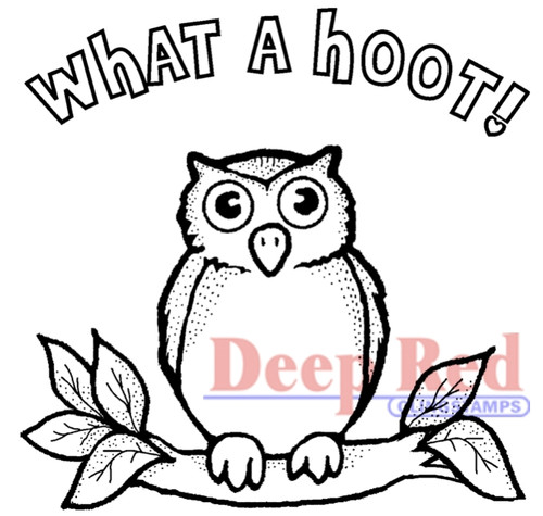 Hoot Owl Rubber Cling Stamp by Deep Red Stamps