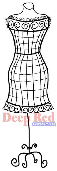 Dress Form Wire Frame Rubber Cling Stamp by Deep Red Stamps