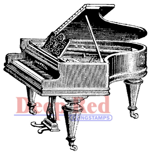 Piano, Baby Grand Rubber Cling Stamp by Deep Red Stamps