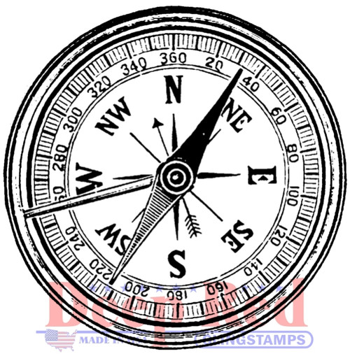 Compass Rubber Cling Stamp by Deep Red Stamps