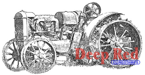 Rusty Tractor Rubber Cling Stamp by Deep Red Stamps