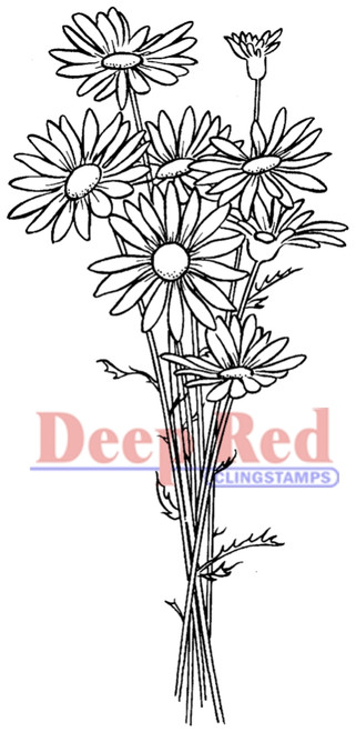 Daisy Bouquet Rubber Cling Stamp by Deep Red Stamps