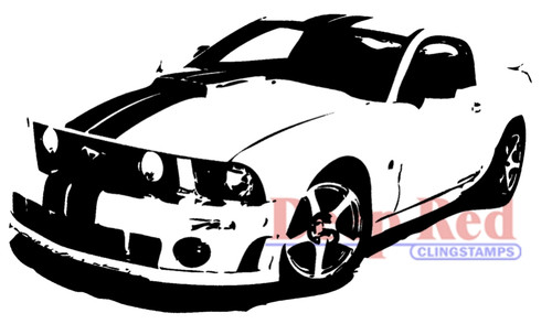 Mustang Boss Rubber Cling Stamp by Deep Red Stamps
