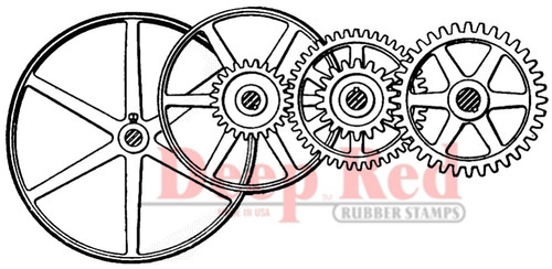 Gears and Pulleys Rubber Cling Stamp by Deep Red Stamps