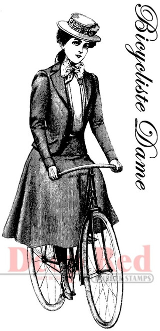 Bicyclist Lady Rubber Cling Stamp by Deep Red Stamps