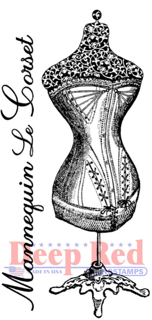Corset Dress Form Rubber Cling Stamp by Deep Red Stamps