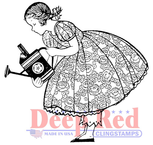 Gardening Girl Rubber Cling Stamp by Deep Red Stamps
